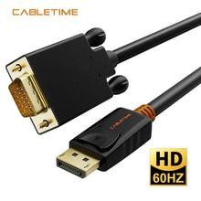 Câble câble DisplayPort vers VGA convertisseur DP vers VGA Displayport VGA câble or pour Macbook projecteur ordinateur portable Camara HDTV N041