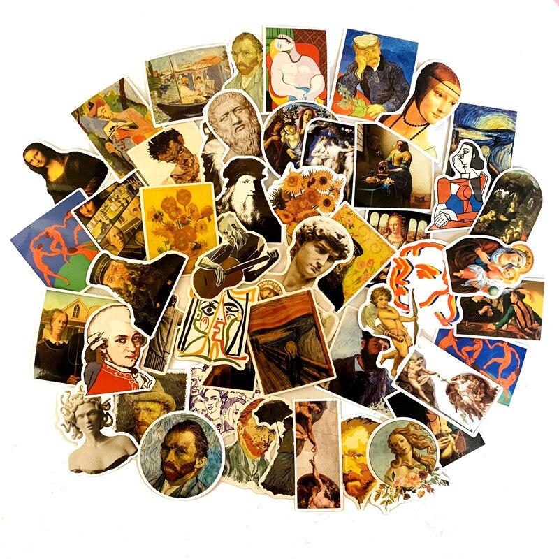 50 Uds. Pegatinas de Mona Lisa pintadas al óleo de artistas famosos para DIY Laptop Scrapbooking Graffiti Diary artículos de papelería con etiquetas adhesivas de decoración