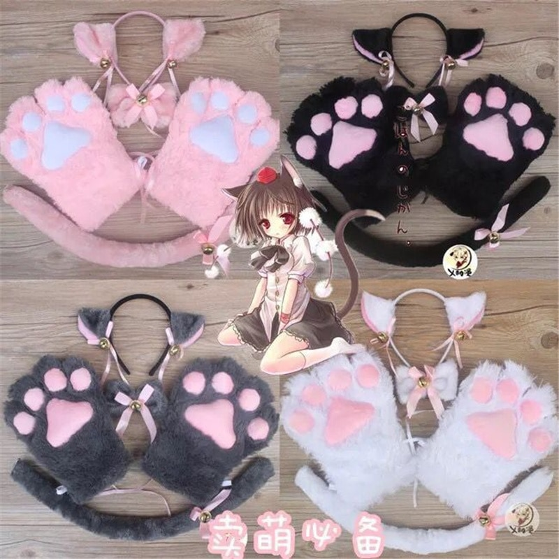 5-Piece Set Anime Cat Claw Gloves  Maid Girl Bow Tie Animation Peripherals Cos Accessory