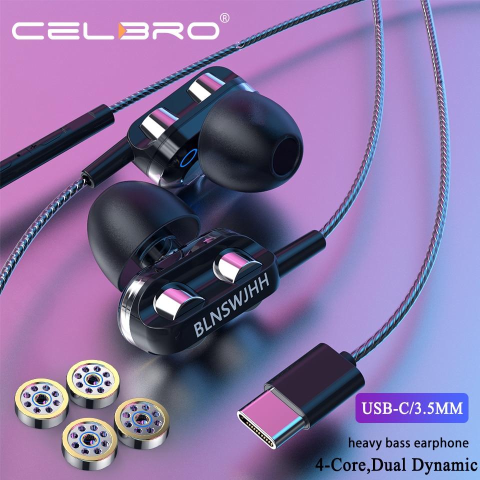 Наушники типа C, проводные наушники с микрофоном, четырехъядерный процессор, Двойное действие, кольцо, наушники в ухо, гарнитура 3,5 мм, 3D стерео регулятор громкости