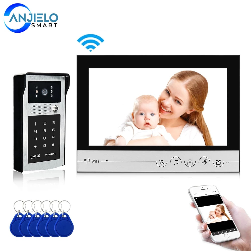 Smart Home 9 inch Video Door Phone Intercom System Night Vision Support RFID Key Password Unlock  APP Remote Control for Home