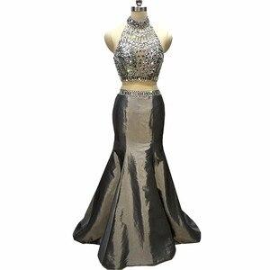 Two Piece Gray Mermaid Prom Dresses Long 2020 Beaded Halter abendkleider lang Evening Party Gowns For Women платья на выпускной