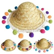 Casquette de paille pour animaux de compagnie   Pompon coloré chien chat, paille mexicaine, Sombrero casquette pour animaux de compagnie, ajustable à la main, casquette dété, visière de fête