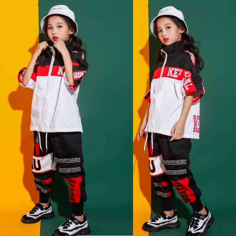 Girls Jazz Modern Dancing Costumes Clothing Suits Kids Boys Children's Hip Hop Dance wear Outfits St