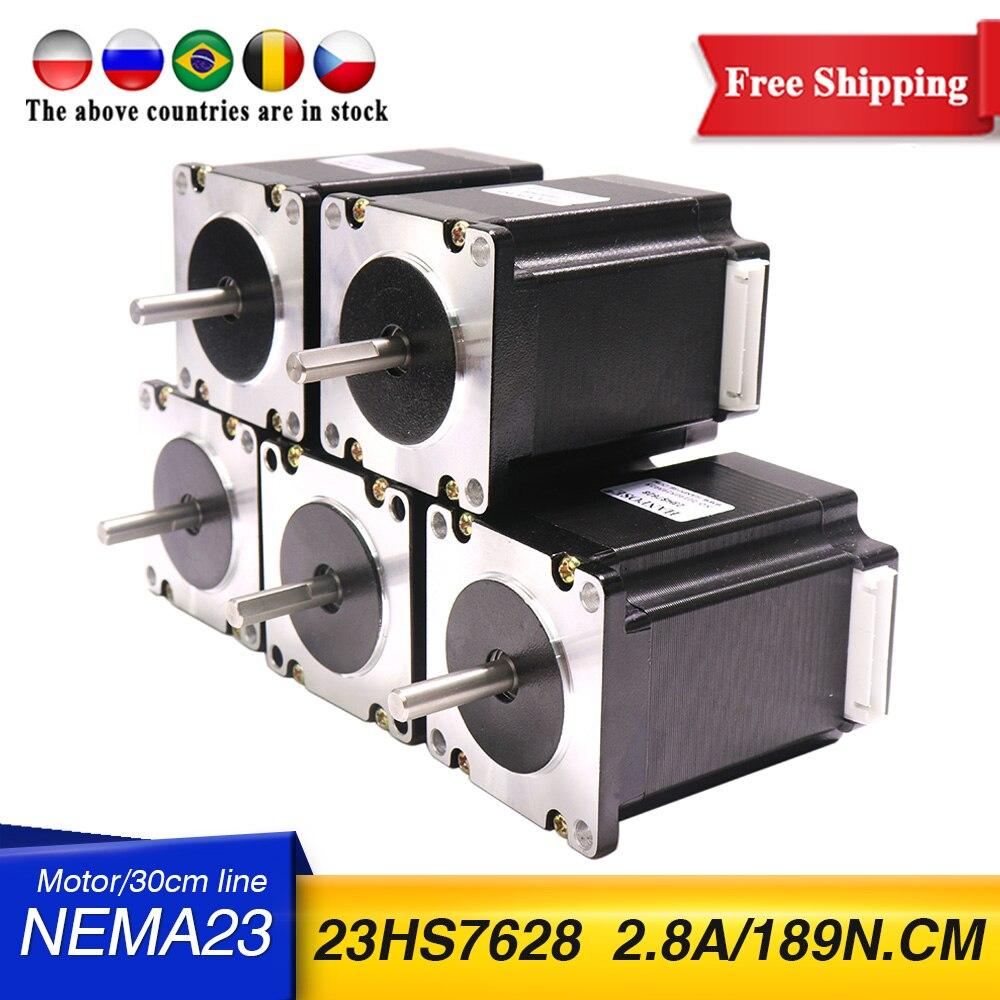 5 قطعة NEMA23 محرك خطوي بالتحكم الرقمي بالكمبيوتر 57x76 مللي متر 189N.cm 4-الرصاص 1.8deg 23HS7628 المحرك 3A 270Oz-in ل ماكينة بتحكم رقمي بالكمبيوتر و 3D طابعة!