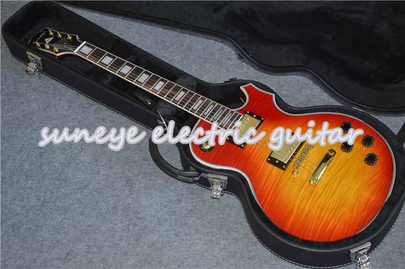 Suneye-Guitarra eléctrica con acabado brillante cereza, instrumento personalizado de China, Guitarra eléctrica...