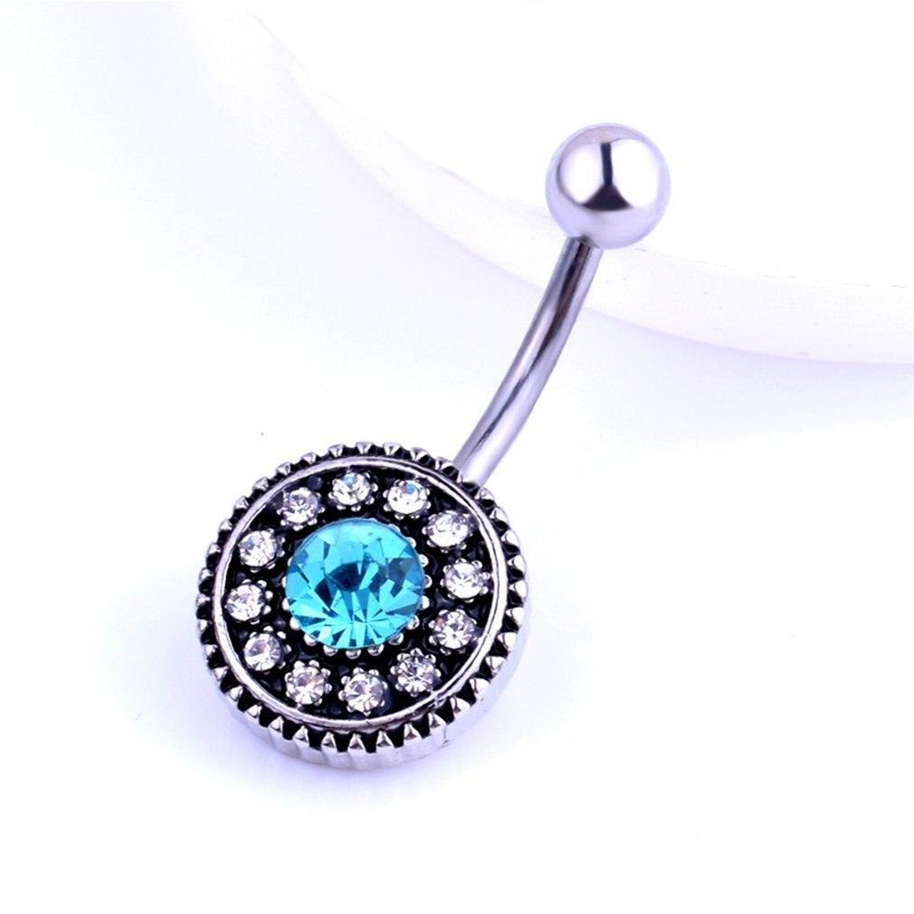 Placa redonda zirconia médica mujeres reverso ombligo anillo hermoso ombligo Piercing cuerpo joyería de moda mejor regalo