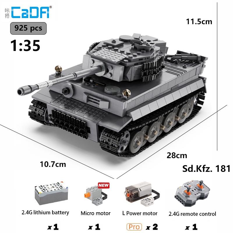 Cada Rc Tank 1:35 WW2 Tiger Tank MOC Military Armas Tank Model Kit Building Blocks WW2 German Military Remote Toys For Boys Gift assemble ph35005 1 35 russia 279 engineering nuclear tank blocks kits