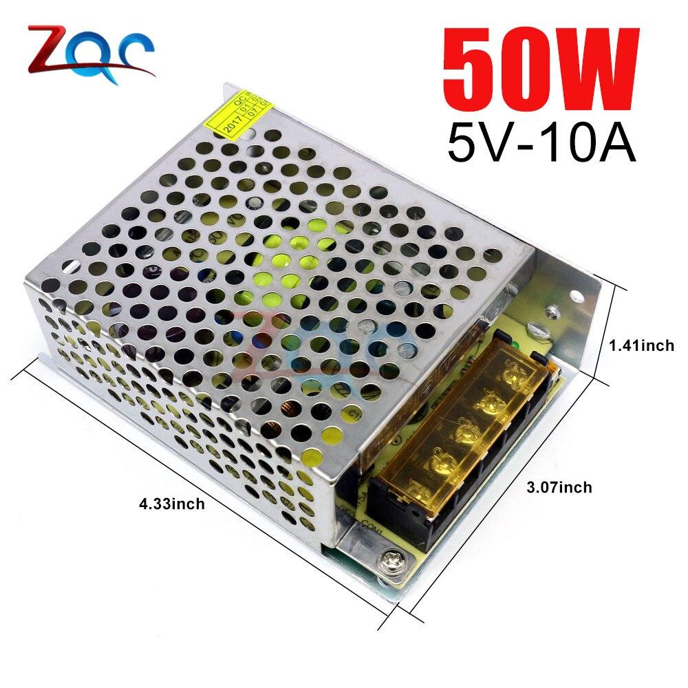 AC-DC fonte de alimentação de comutação adaptador transformador de luz ac 110 v 220 v para dc 5 v 10a 50 w para led strip cctv regulador de tensão