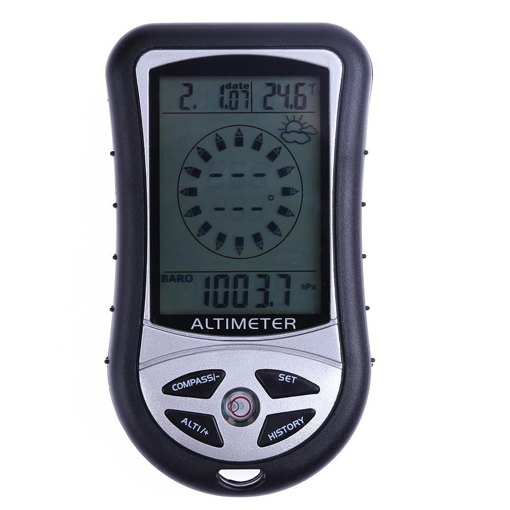 Altímetro de brújula portátil 8 en 1, termómetro, calendario de tiempo de...
