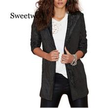 Autumn Sequin Coat Sliver White Bomber Jacket Long Streetwear Tunic Loose Casual Basic Lady Outwear