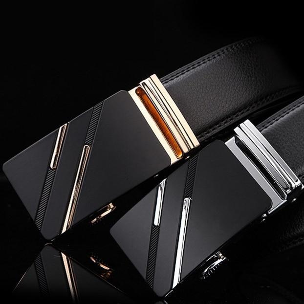 New Men Belt Male Genuine Leather Strap Belts For Men Top Quality Automatic Buckle black Belts Cumme