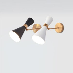 OYGROUP Wall Lamp E27 Black White Modern Minimalist Wrought Iron Wall Lamp Living Room Aisle Corridor Bedroom Head