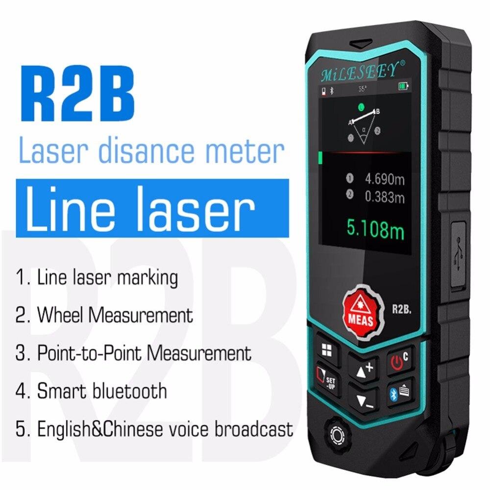 Mileseey inteligente bluetooth medidor de distância a laser usb rechargable telêmetro laser range finder roda linha laser nível r2/r2b