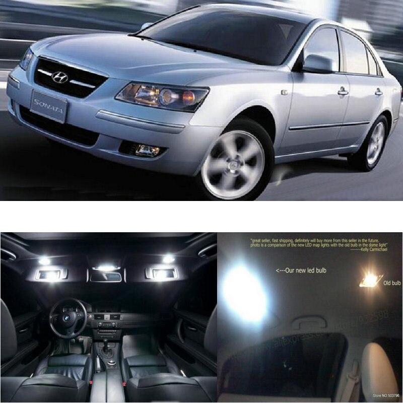 Luces interiores de coche LED para Hyundai sonata NF transformable room dome map lectura pie lámpara de puerta sin error 11pc