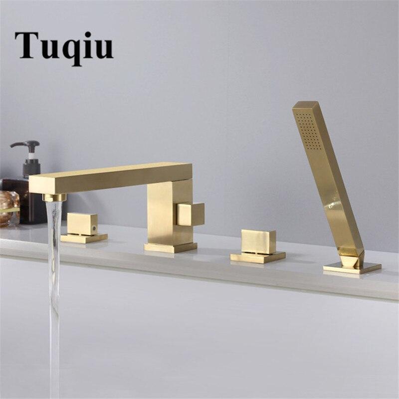 Tuqiu torneira da banheira generalizada banheira sink toque mixer escovado ouro/preto latão banheiro torneira do chuveiro com chuveiro de mão cabeça