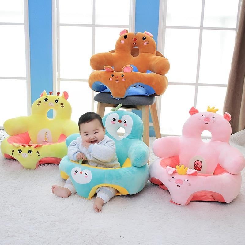 Asiento de apoyo para bebés pequeños asiento de apoyo para bebés silla suave cojín sofá almohada de felpa juguete Animal cerdo pingüino unicornio ciervo sofá asiento