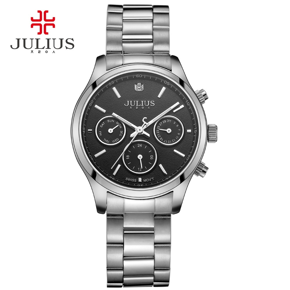 Julius Brand Women Silver Rose Gold Full Stainless Steel Chronograph Watch Casual Fashion Dress Montre Femme Waterproof JA-946 enlarge