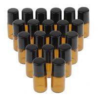 20x empty glass pp essential oil perfume roller ball bottles case holder