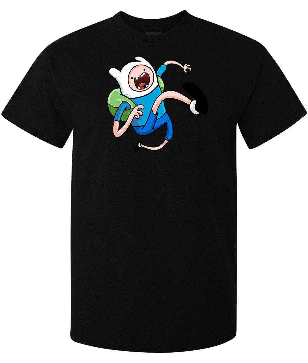 Camiseta negra de alta calidad con diseño de dibujo animado para hombre de Adventure Time Finn