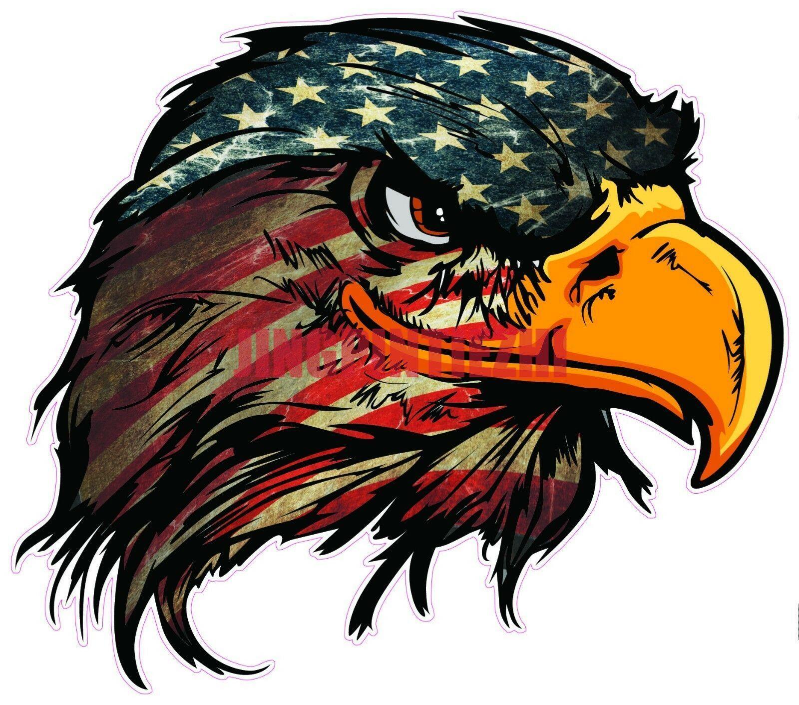 Интересная Автомобильная наклейка, американский флаг, голова Орла, искусственная виниловая наклейка, Виниловая наклейка, автомобильная на...