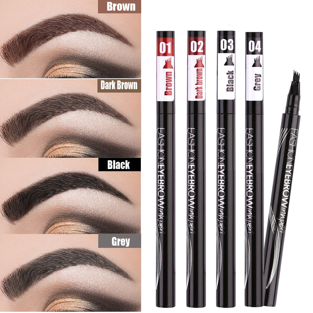 Waterproof Natural Eyebrow Pen Four-claw Eye Brow Tint Makeup three Colors Eyebrow Pencil Brown Blac
