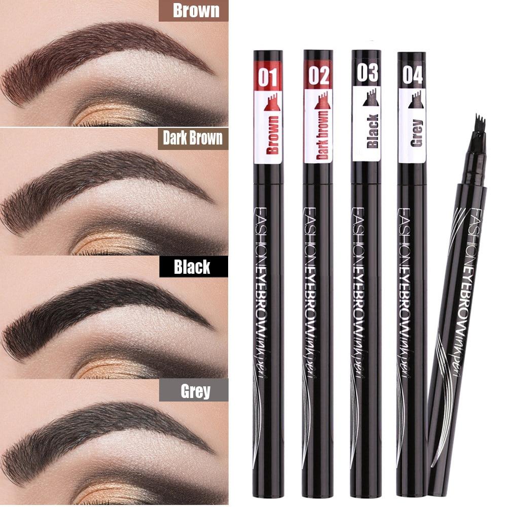 Waterproof Natural Eyebrow Pen Four-claw Eye Brow Tint Makeup three Colors Eyebrow Pencil Brown Black Grey Brush Cosmetics