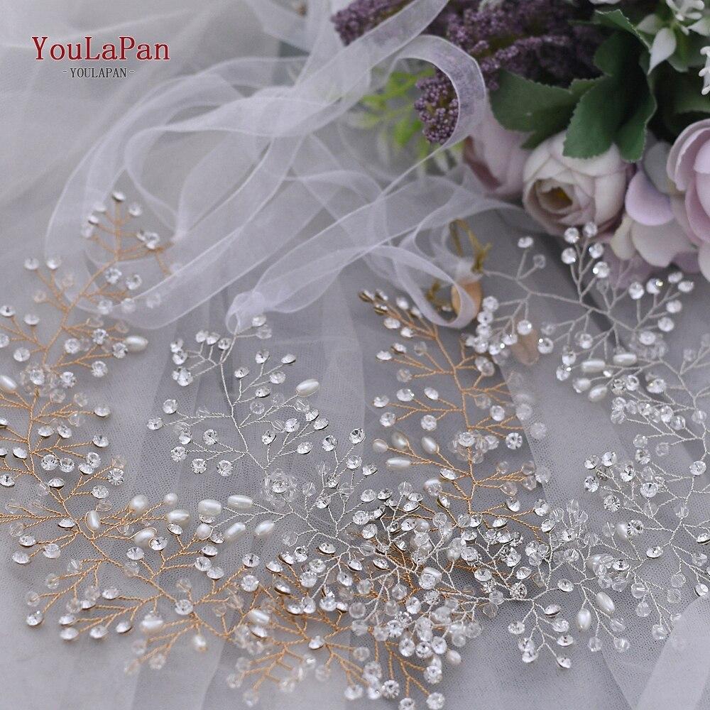 YouLaPan HP10 Tiara nupcial de cristal plateado, accesorios para el cabello de boda, diadema de boda, diadema de diamantes de imitación, joyería para el cabello de boda