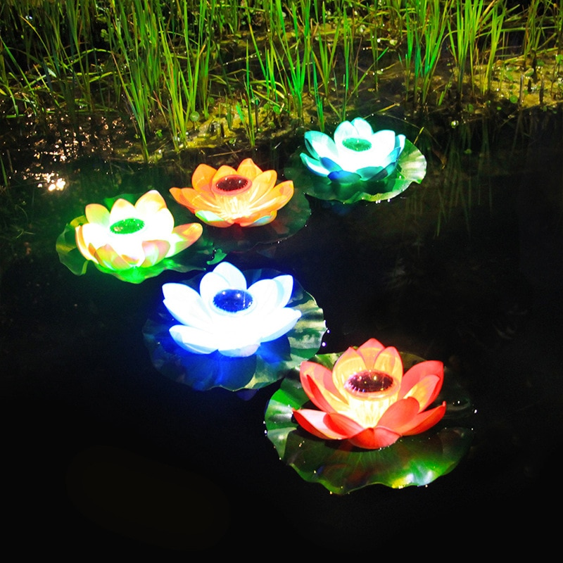 lampada solar de lotus d2 para piscina luz led para aquario externo lago decoracao