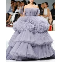 purple unique amazing new ball gown prom dresses strapless tiered ruffles tulle evening dress formal dress pageant gowns