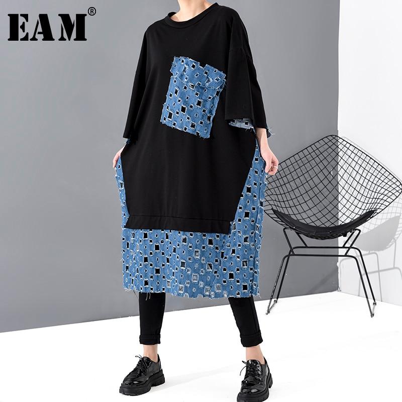 [EAM] Women Black Denim Hollow Out Big Size Dress New Round Neck Three-quarter Sleeve Loose Fit Fashion Spring Autumn 2020 1T473