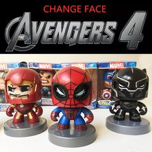 Juguetes de Marvel de 11CM vengadores Iron Spider-Man Hulk figura de Thor cambiar cara figura de acción colección juguetes modelo para niños regalos