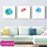 Affiches de peinture sur toile de noel  fleurs roses bleues decoratives  tableau dart mural  decoration de maison