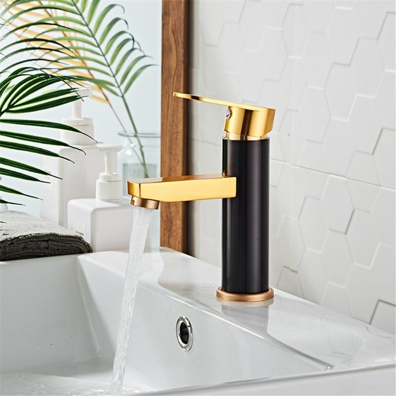 Aluminum Basin Faucets Black Gold Bathroom Sink Washbasin Tap Single Hole Hot&Cold Water Mixer Tap