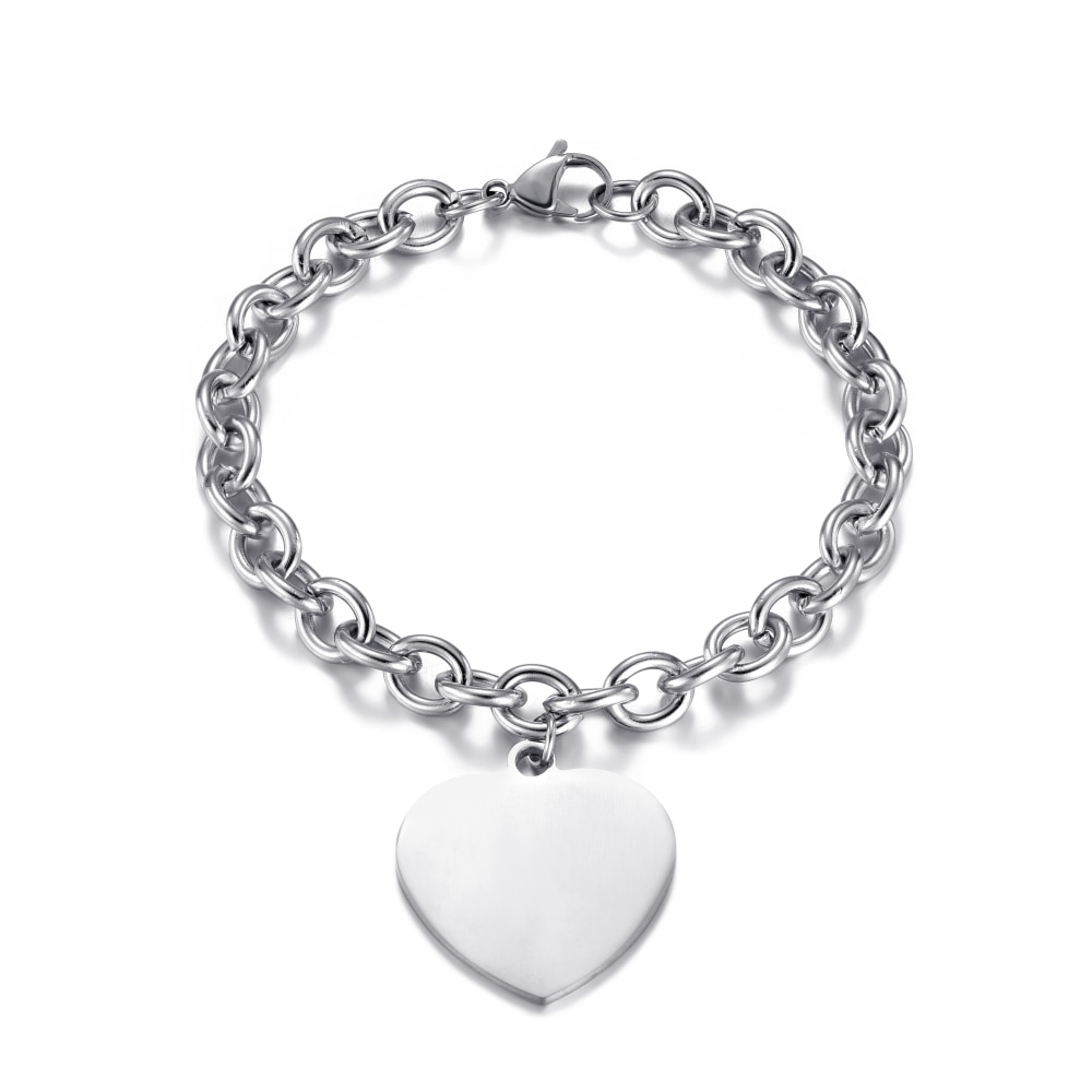Stainless Steel Link Chain Round Heart Charm Bracelets for Women Men Unisex Wrist Jewelry Accessories Gifts 2020 Wholesale недорого
