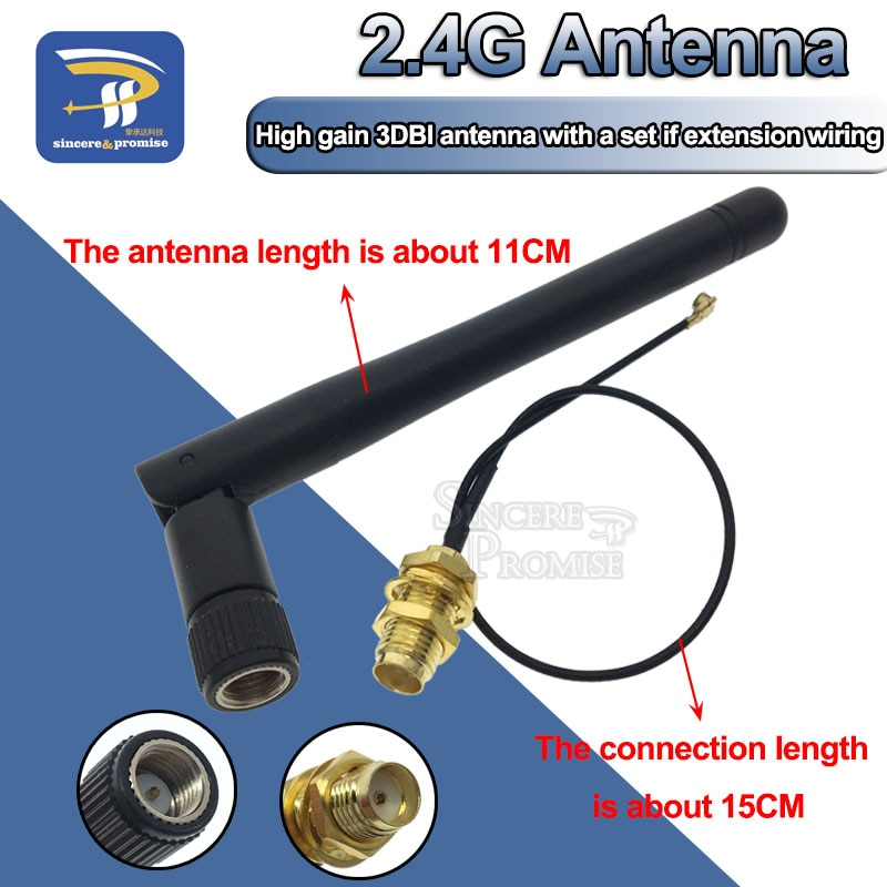 2,4 GHz 3dBi WiFi 2,4g антенна RP-SMA мужской беспроводной маршрутизатор + 17 см PCI U. FL IPX к RP SMA мужской косичка кабель ESP8266 ESP32