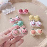 women color contact lenses case cute strawberry carrot watermelon peach cactus pineapple dragon fruit style contact lens cases
