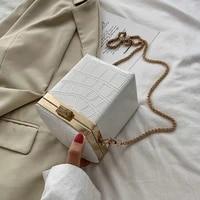 stone pattern pu leather box bags for women 2021 mini chain shoulder handbags female travel totes lady cross body bag