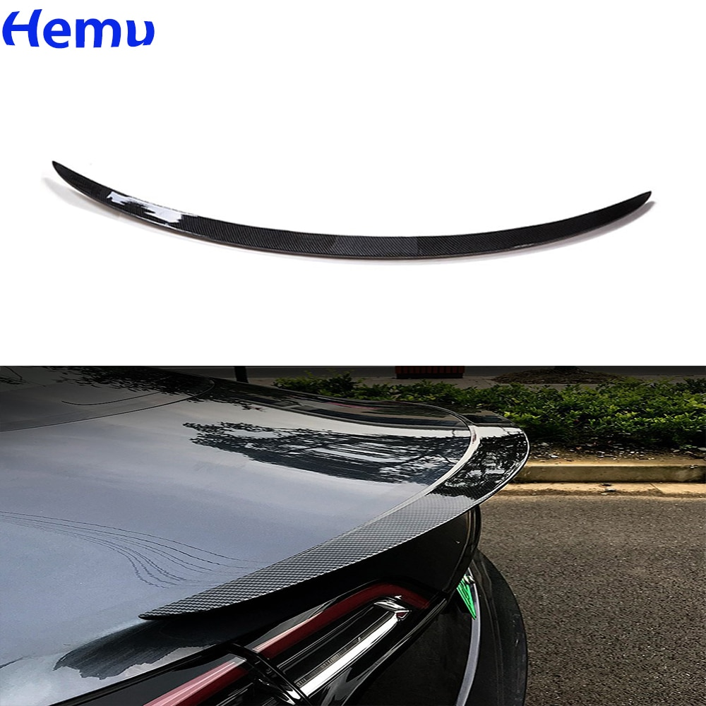 for bmw e90 spoiler trunk wing tail m4 style frp black 3 series 318i 320i 328i 335d 330i 350i 340i tail trunk spoiler wing 05 11 2017-2021 Rear Trunk Spoiler For Tesla Model 3 Rear Trunk Lip Carbon Fiber ABS tail Wing Spoiler Car Styling Modification parts