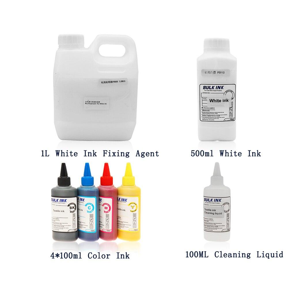 أوفيم النسيج لون الحبر (C M Y K) الأبيض النسيج الحبر تنظيف السائل طابعة بحبر أبيض عامل تثبيت للطابعة المسطحة ل تي شيرت