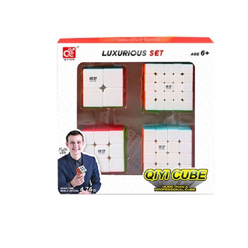 Qiyi حزمة 2x2x2 3x3x3 4x4x4 5x5x5 Dodecahedron mastermorphix LVY التعبئة ماجيك سرعة أُحجية مكعبات 4 قطعة مجموعة هدية ألعاب أطفال