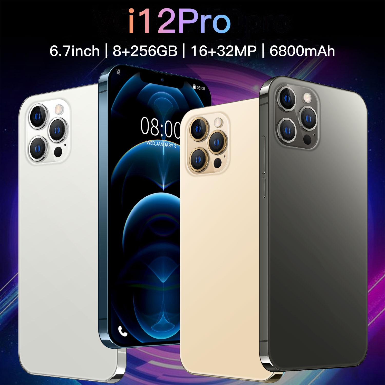 batteria-i12-pro-5g-67-pollici-6800mah-piu-recente-10-core-8-256gb-16-32mp-dual-card-android-10-face-id-versione-globale-telefono-cellulare
