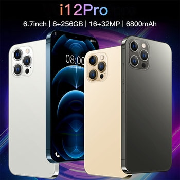 Newest i12 Pro 5G 6.7 Inch 6800mAh Big Battery 10 Core 8+256GB 16+32MP Dual Card Android 10 Face ID Global Version Mobile Phone