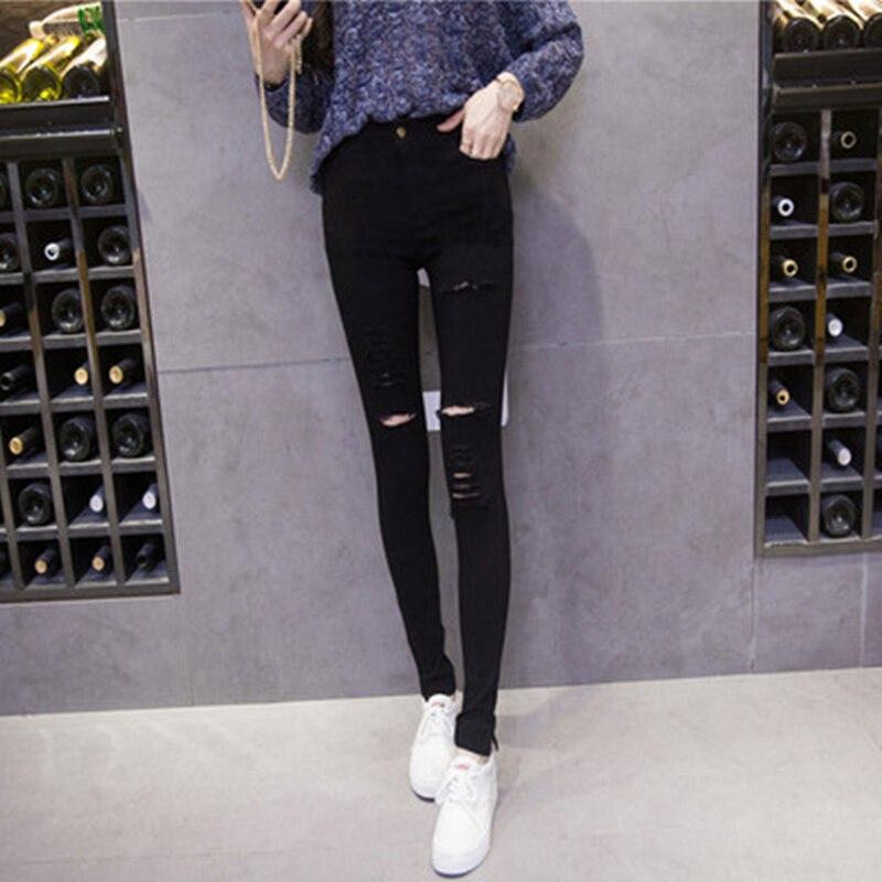 New  Pants Women Fashion Slim High Waisted Stretchy Skinny Broken Hole Pencil Pants  Streetwear Slim Jeg Trousers