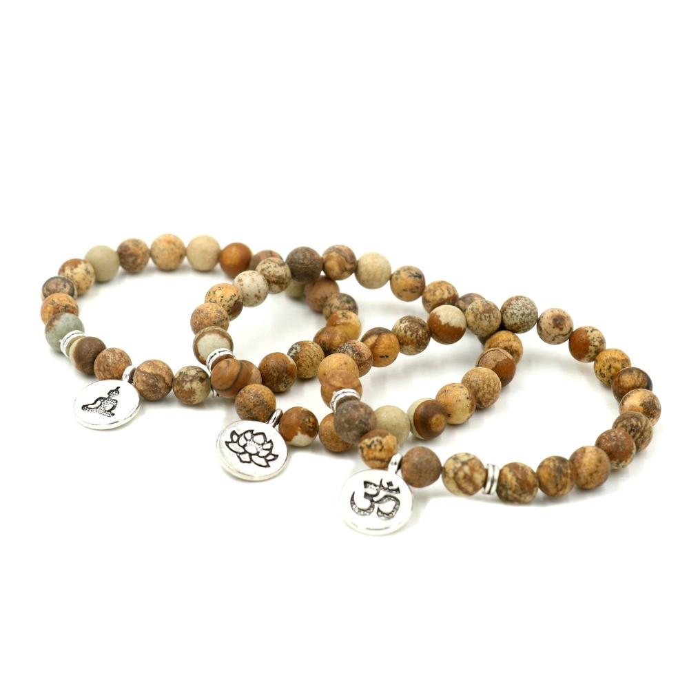 DIY joyería hecha a mano de piedra de corteza Natural de 8 MM pulsera de hilo de perlas mujeres hombres Yoga curación Om, Buda Lotus oración encanto pulsera