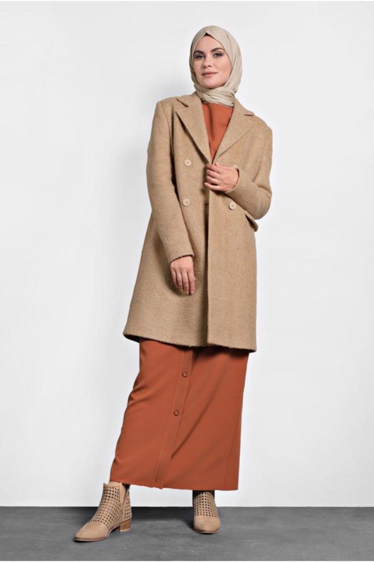 Women's Beige Button Classic Coat 90026