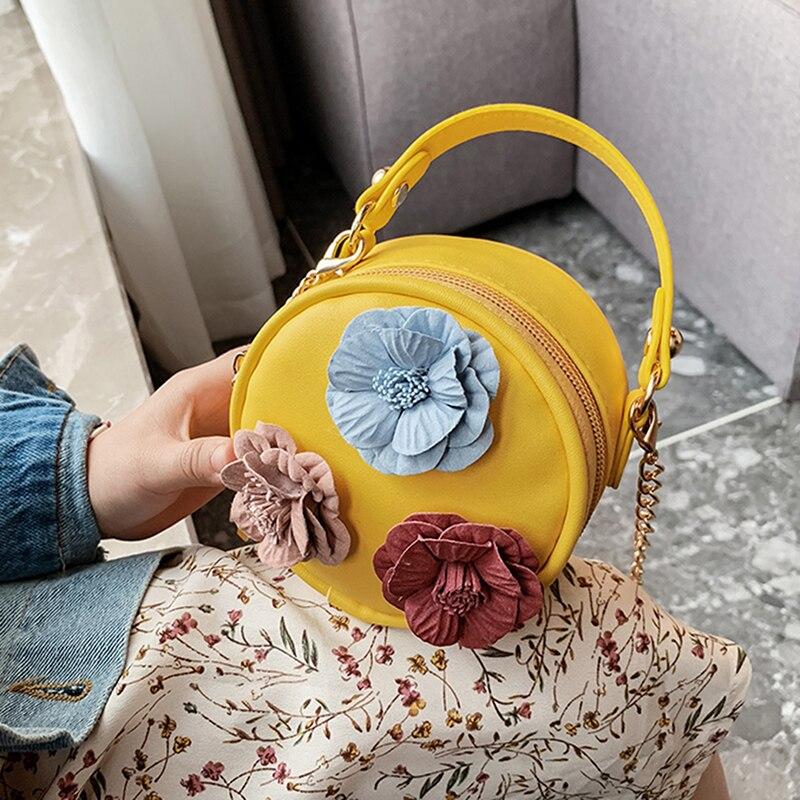 Bolso pequeño redondo para niños, bolso de flores bonitas, bolso Diagonal Simple, bolso de teléfono móvil para niñas
