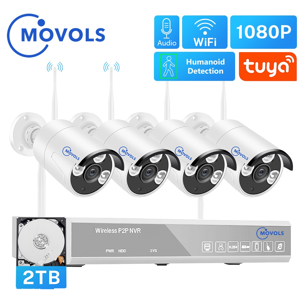 MOVOLS H.265 Wireless CCTV System 8CH 1080P Tuya NVR 2MP Outdoor Waterproof Wifi IP Security Camera