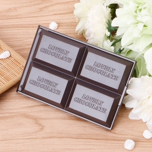 Cute Chocolate Cookie Shaped Square Pocket Mirror Mini Foldable Makeup Mirror
