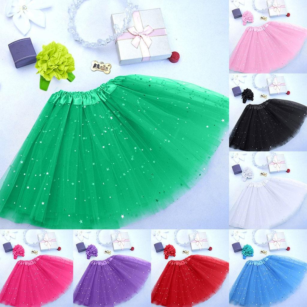 Faldas de enagua de tul para niñas, falda de estrella Pettiskirt, falda de cinta tipo tutú, Falda de baile, faldas de Ballet para niñas